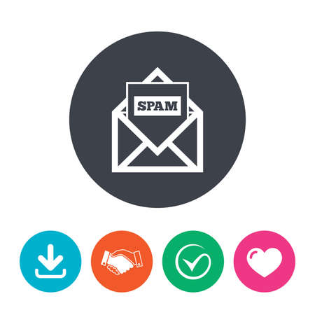 spam mail: Mail icon. Envelope symbol. Message spam sign. Mail navigation button. Download arrow, handshake, tick and heart. Flat circle buttons.