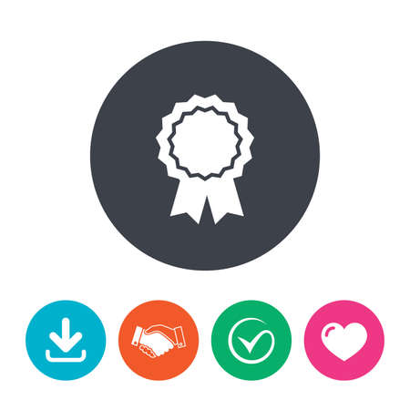medal like: Award medal icon. Best guarantee symbol. Winner achievement sign. Download arrow, handshake, tick and heart. Flat circle buttons. Illustration