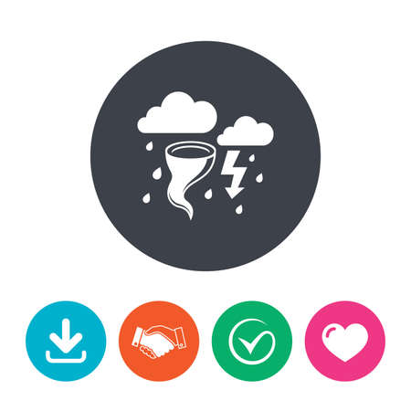hurricane disaster: Storm bad weather sign icon. Clouds with thunderstorm. Gale hurricane symbol. Destruction and disaster from wind. Insurance symbol. Download arrow, handshake, tick and heart. Flat circle buttons.
