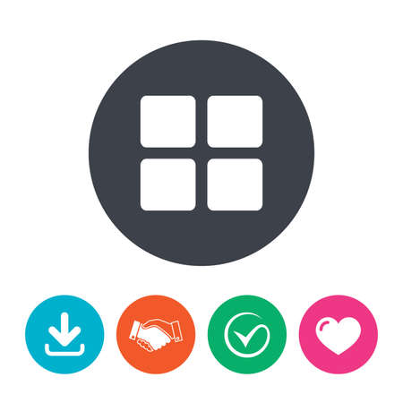 thumbnails: Thumbnails sign icon. Gallery view option symbol. Download arrow, handshake, tick and heart. Flat circle buttons.