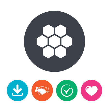 Honeycomb sign icon. Honey cells symbol. Sweet natural food. Download arrow, handshake, tick and heart. Flat circle buttons.