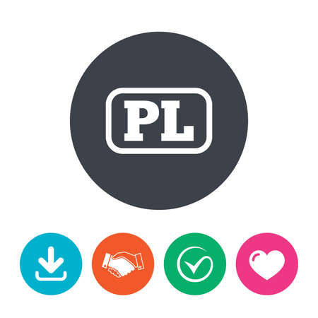 pl: Polish language sign icon. PL translation symbol with frame. Download arrow, handshake, tick and heart. Flat circle buttons.