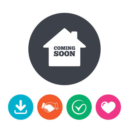 tick symbol: Homepage coming soon sign icon. Promotion announcement symbol. Download arrow, handshake, tick and heart. Flat circle buttons.