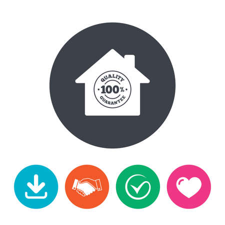 quality guarantee: Construction works. 100% quality guarantee sign icon. Premium quality symbol. Download arrow, handshake, tick and heart. Flat circle buttons. Illustration