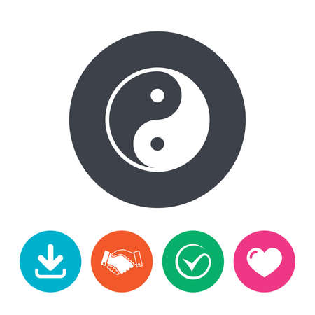zen like: Ying yang sign icon. Harmony and balance symbol. Download arrow, handshake, tick and heart. Flat circle buttons. Illustration