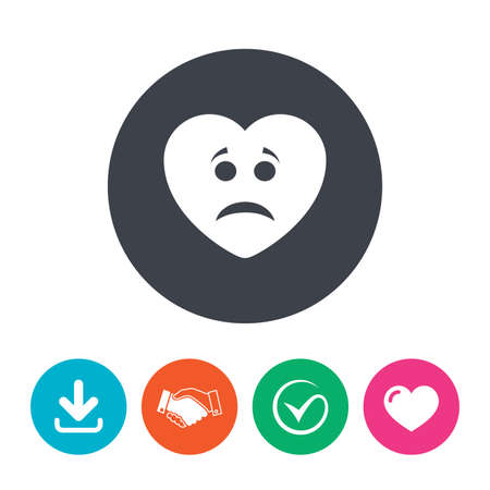 sad heart: Sad heart face sign icon. Sadness depression chat symbol. Download arrow, handshake, tick and heart. Flat circle buttons. Illustration