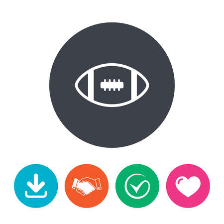 american downloads: American football sign icon. Team sport game symbol. Download arrow, handshake, tick and heart. Flat circle buttons.