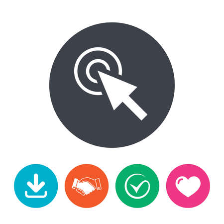 position d amour: Mouse cursor sign icon. Pointer symbol. Download arrow, handshake, tick and heart. Flat circle buttons.