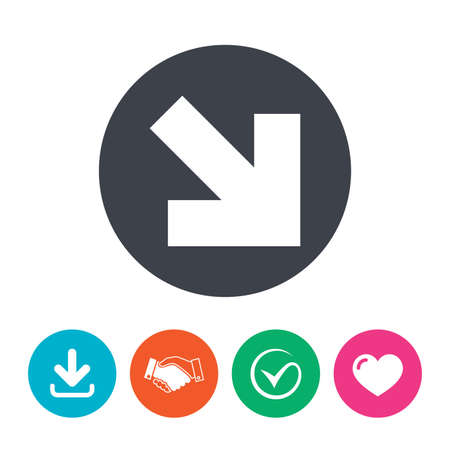 next button: Arrow sign icon. Next button. Navigation symbol. Download arrow, handshake, tick and heart. Flat circle buttons.
