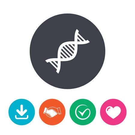 deoxyribonucleic acid: DNA sign icon. Deoxyribonucleic acid symbol. Download arrow, handshake, tick and heart. Flat circle buttons. Illustration
