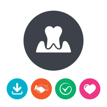 gingivitis: Parodontosis tooth icon. Gingivitis sign. Inflammation of gums symbol. Download arrow, handshake, tick and heart. Flat circle buttons. Illustration