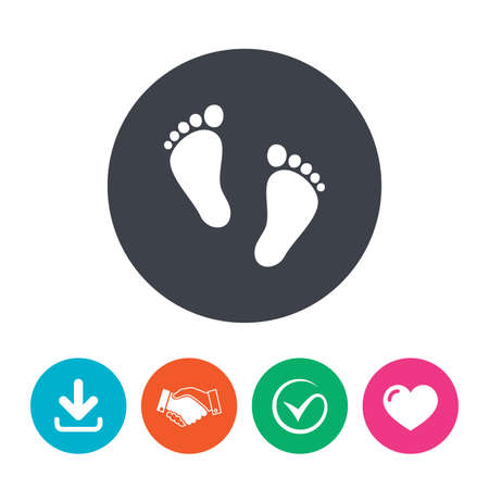 first steps: Child pair of footprint sign icon. Toddler barefoot symbol. Babys first steps. Download arrow, handshake, tick and heart. Flat circle buttons.