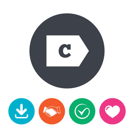 consumo energia: Energy efficiency class C sign icon. Energy consumption symbol. Download arrow, handshake, tick and heart. Flat circle buttons.
