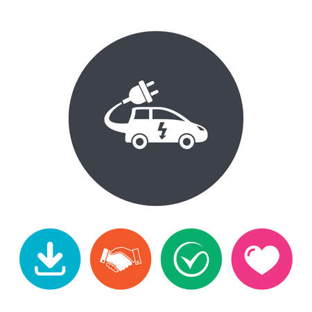 electric vehicle: Electric car sign icon. Hatchback symbol. Electric vehicle transport. Download arrow, handshake, tick and heart. Flat circle buttons. Vettoriali
