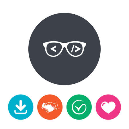 coder: Coder sign icon. Programmer symbol. Glasses icon. Download arrow, handshake, tick and heart. Flat circle buttons. Illustration
