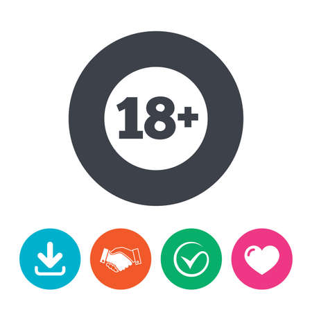 adult only: 18 plus years old sign. Adults content icon. Download arrow, handshake, tick and heart. Flat circle buttons. Illustration