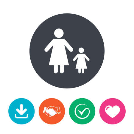 family with one child: One-parent family with one child sign icon. Mother with daughter symbol. Download arrow, handshake, tick and heart. Flat circle buttons.