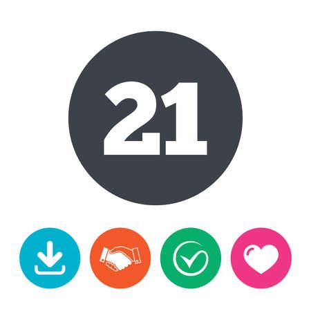 Signo De 21 Años Más. Icono De Los Adultos. Descargar Flecha ...