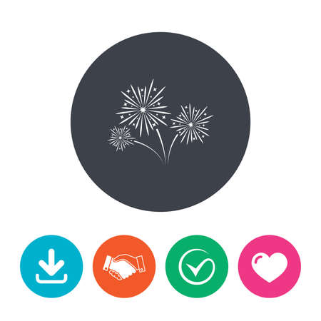 fireworks show: Fireworks sign icon. Explosive pyrotechnic show symbol. Download arrow, handshake, tick and heart. Flat circle buttons.