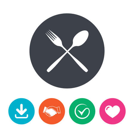 crosswise: Eat sign icon. Cutlery symbol. Fork and spoon crosswise. Download arrow, handshake, tick and heart. Flat circle buttons. Illustration