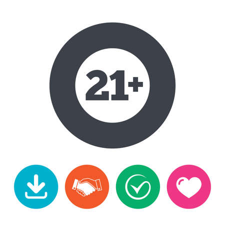 adult only: 21 plus years old sign. Adults content icon. Download arrow, handshake, tick and heart. Flat circle buttons. Illustration