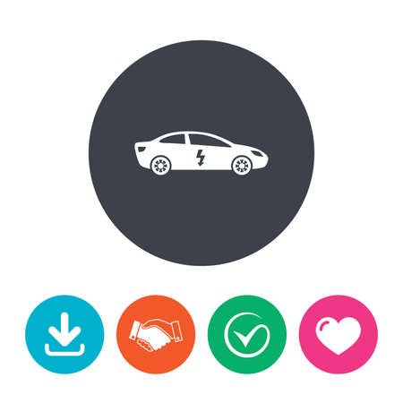 vehicle icon: Electric car sign icon. Sedan saloon symbol. Electric vehicle transport. Download arrow, handshake, tick and heart. Flat circle buttons.