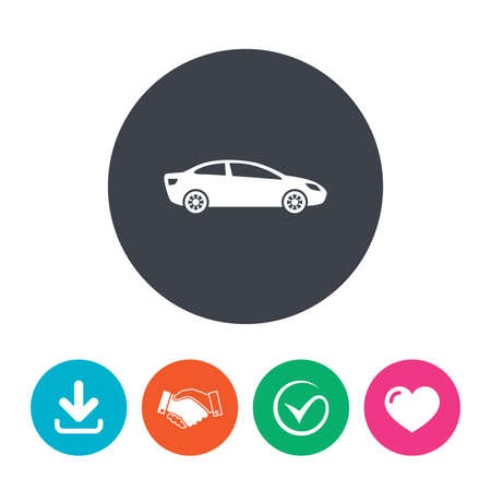 saloon: Car sign icon. Sedan saloon symbol. Transport. Download arrow, handshake, tick and heart. Flat circle buttons.