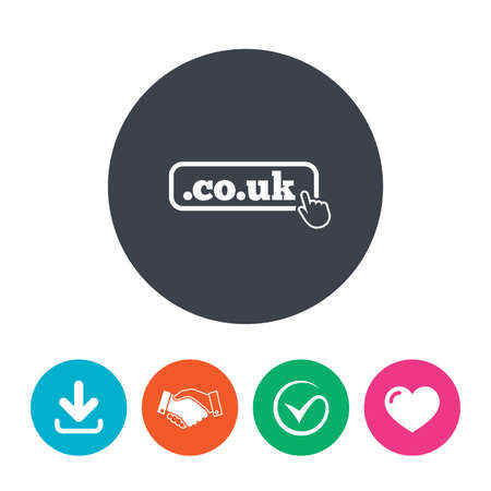 subdomain: Domain CO.UK sign icon. UK internet subdomain symbol with hand pointer. Download arrow, handshake, tick and heart. Flat circle buttons.