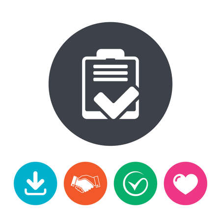 poll: Checklist sign icon. Control list symbol. Survey poll or questionnaire feedback form. Download arrow, handshake, tick and heart. Flat circle buttons. Illustration