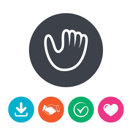 mitt: Baseball glove or mitt sign icon. Sport symbol. Download arrow, handshake, tick and heart. Flat circle buttons.