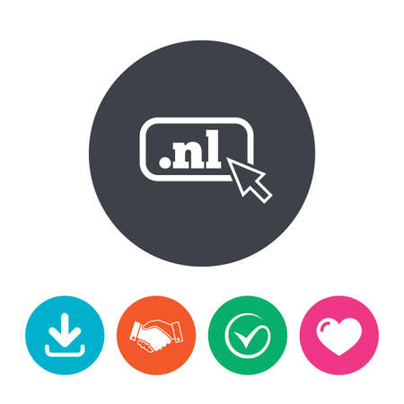 domain: Domain NL sign icon. Top-level internet domain symbol with cursor pointer. Download arrow, handshake, tick and heart. Flat circle buttons.