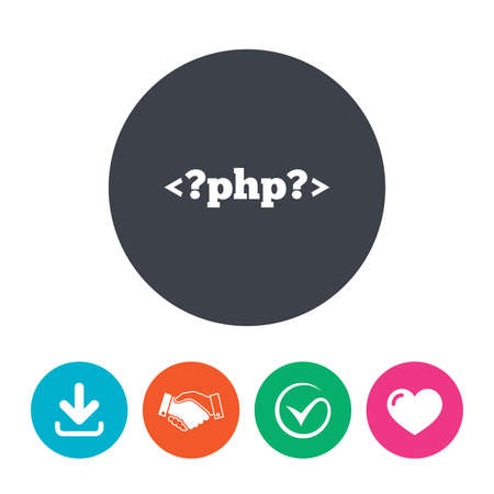 php: PHP sign icon. Programming language symbol. Download arrow, handshake, tick and heart. Flat circle buttons.
