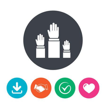 polling: Election or voting sign icon. Hands raised up symbol. People referendum. Download arrow, handshake, tick and heart. Flat circle buttons.