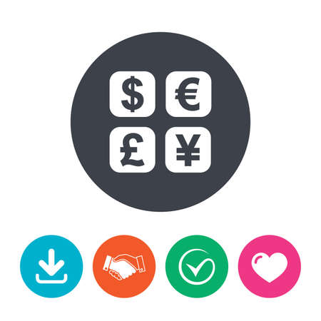 currency converter: Currency exchange sign icon. Currency converter symbol. Money label. Download arrow, handshake, tick and heart. Flat circle buttons. Illustration