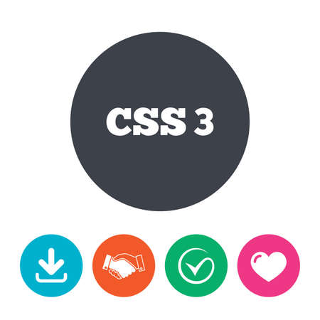 css3: CSS3 sign icon. Cascading Style Sheets symbol. Download arrow, handshake, tick and heart. Flat circle buttons.