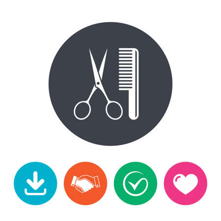 comb hair: Comb hair with scissors sign icon. Barber symbol. Download arrow, handshake, tick and heart. Flat circle buttons.