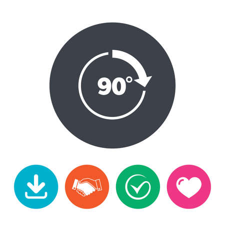 Angle 90 degrees sign icon. Geometry math symbol. Right angle. Download arrow, handshake, tick and heart. Flat circle buttons.
