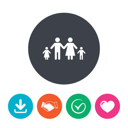 family with two children: Family with two children sign icon. Complete family symbol. Download arrow, handshake, tick and heart. Flat circle buttons.