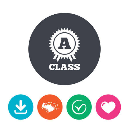 medal like: A-class award icon. Premium level symbol. Energy efficiency sign. Download arrow, handshake, tick and heart. Flat circle buttons.