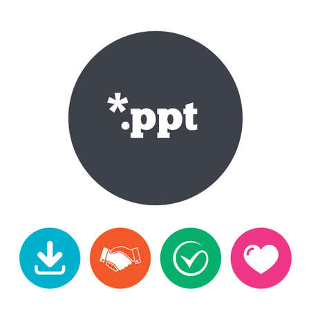 ppt: File presentation icon. Download PPT button. PPT file extension symbol. Download arrow, handshake, tick and heart. Flat circle buttons.