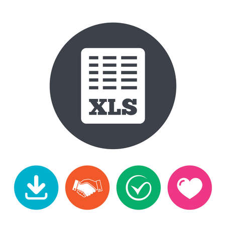 Excel file document icon. Download xls button. XLS file symbol. Download arrow, handshake, tick and heart. Flat circle buttons.