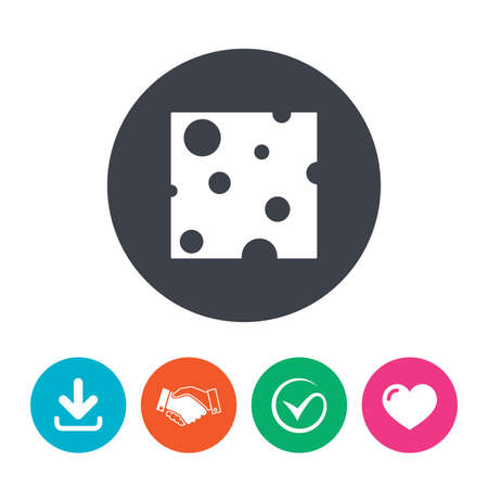 holes: Cheese sign icon. Slice of cheese symbol. Square cheese with holes. Download arrow, handshake, tick and heart. Flat circle buttons. Illustration