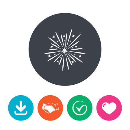 explosive sign: Fireworks sign icon. Explosive pyrotechnic show symbol. Download arrow, handshake, tick and heart. Flat circle buttons.