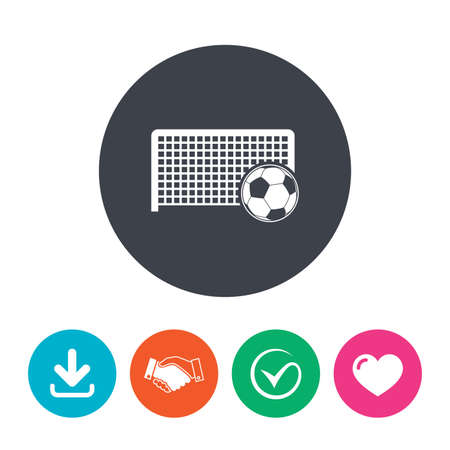 soccer equipment: Football gate and ball sign icon. Soccer Sport goalkeeper symbol. Download arrow, handshake, tick and heart. Flat circle buttons. Illustration
