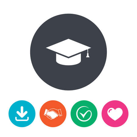 higher education: Graduation cap sign icon. Higher education symbol. Download arrow, handshake, tick and heart. Flat circle buttons. Illustration