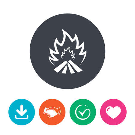 heart heat: Fire flame sign icon. Heat symbol. Stop fire. Escape from fire. Download arrow, handshake, tick and heart. Flat circle buttons.