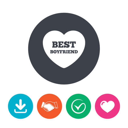 pal: Best boyfriend sign icon. Heart love symbol. Download arrow, handshake, tick and heart. Flat circle buttons.