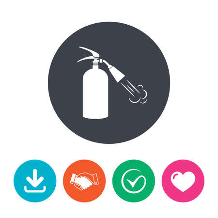 safety circle: Fire extinguisher sign icon. Fire safety symbol. Download arrow, handshake, tick and heart. Flat circle buttons.
