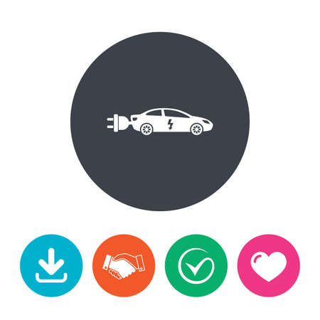 electric vehicle: Electric car sign icon. Sedan saloon symbol. Electric vehicle transport. Download arrow, handshake, tick and heart. Flat circle buttons.