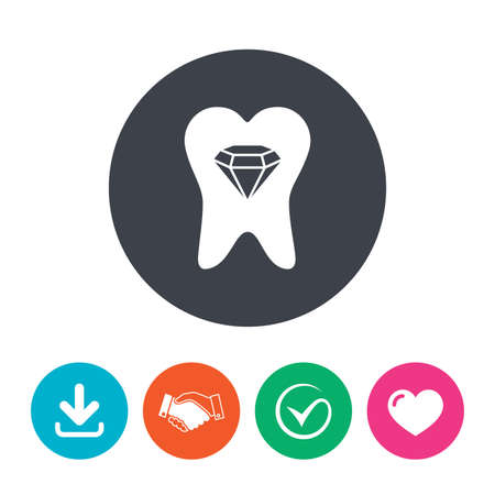 prestige: Tooth crystal icon. Tooth jewellery sign. Dental prestige symbol. Download arrow, handshake, tick and heart. Flat circle buttons. Illustration